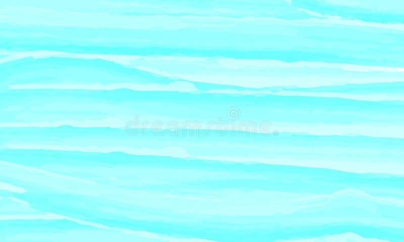 Fundo azul do sumário da aguarela Nuvens, céu, ondas do mar Teste padrão da cor Ilustração do vetor Eps 10 ilustração royalty free
