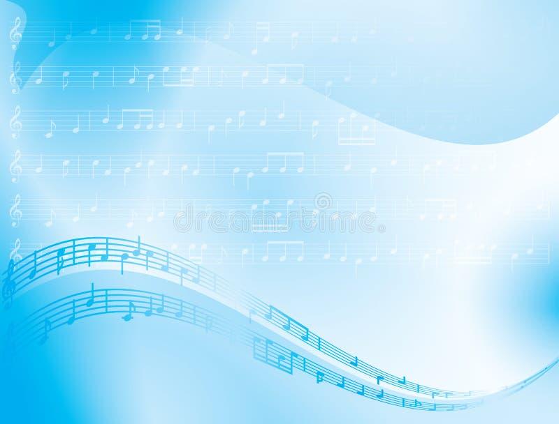 fundo azul do sumário do vetor - notas da música ilustração royalty free
