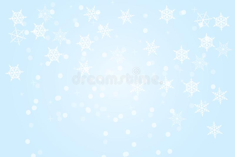 Fundo azul do sumário do inverno Fundo do Natal com flocos de neve e lugar para o texto ilustração royalty free