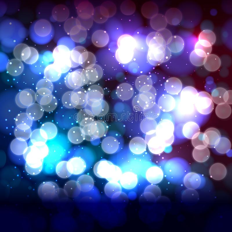 Fundo azul do sumário do rosa do fim com luzes defocused do bokeh ilustração do vetor