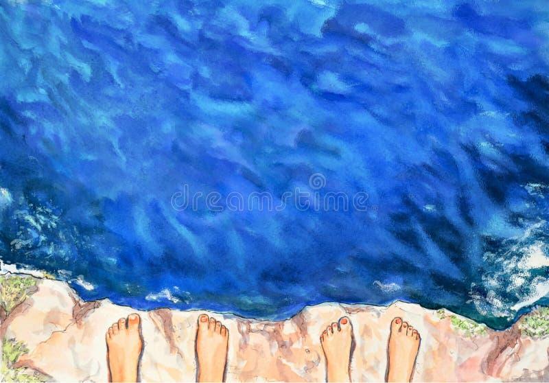 Fundo azul do verão da aquarela A vista da altura do penhasco nas ondas do mar ilustração stock