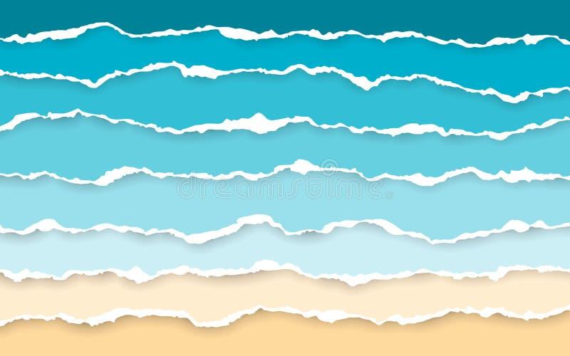 Fundo azul do ver?o do mar e da praia Listras de papel rasgadas Ripped esquadrou tiras de papel horizontais Borda de papel rasgad ilustração stock
