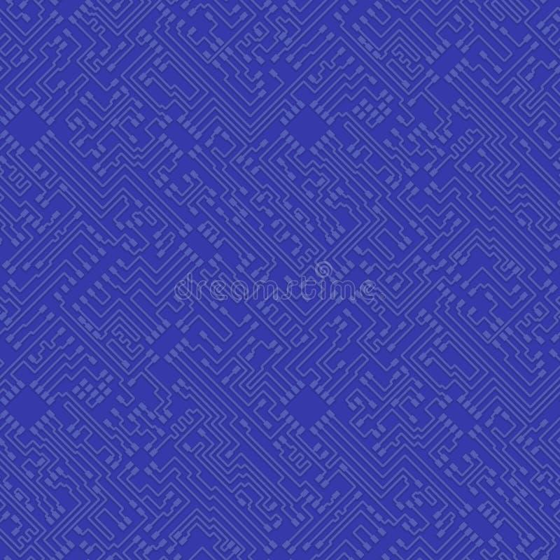 Fundo azul do vetor abstrato do microchip - alto - circuito BO da tecnologia ilustração royalty free