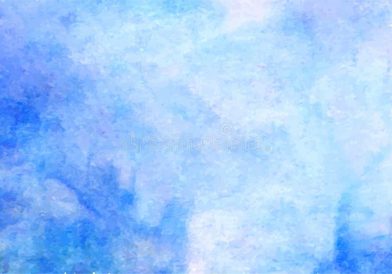 Fundo azul do vetor da aquarela Contexto abstrato da mancha do quadrado da pintura da mão ilustração stock