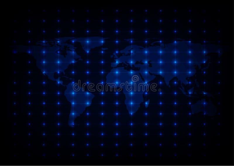 Fundo azul do vetor das luzes do mapa do mundo abstrato ilustração stock