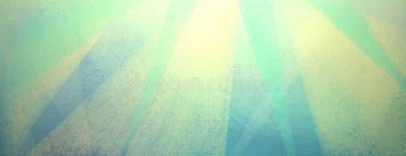 Fundo azul do vintage com as listras afligidas da luz - e triângulos amarelos e verdes ilustração do vetor