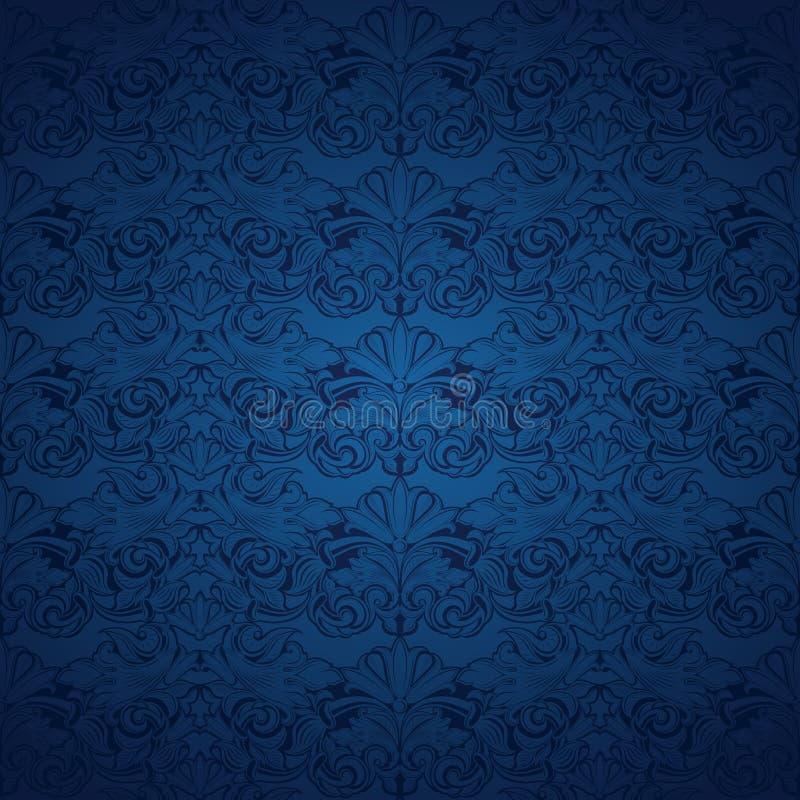 fundo azul do vintage, real com teste padrão barroco clássico ilustração stock