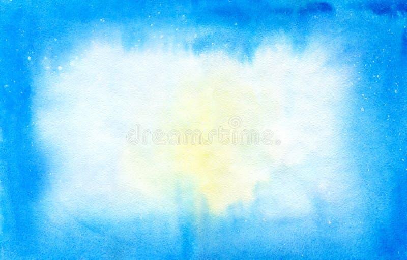 Fundo azul e branco da aquarela ilustração stock