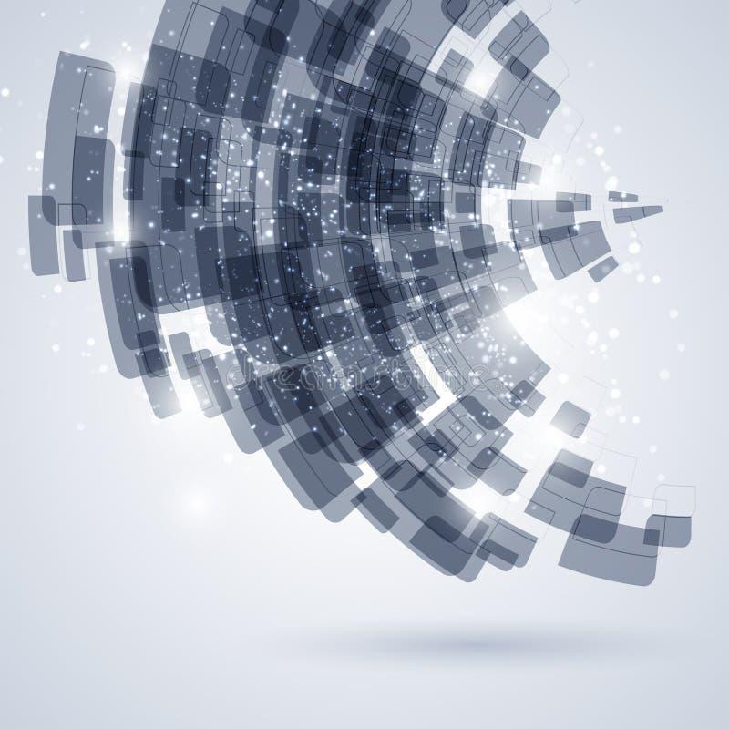 Fundo azul e branco do sumário da tecnologia ilustração stock