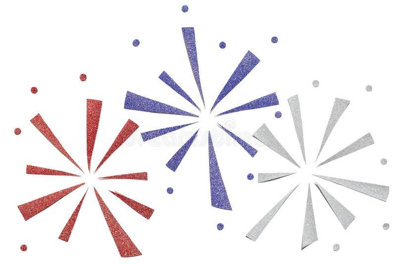 Fundo azul e de prata vermelho do corte do papel do fogo de artifício do brilho ilustração do vetor