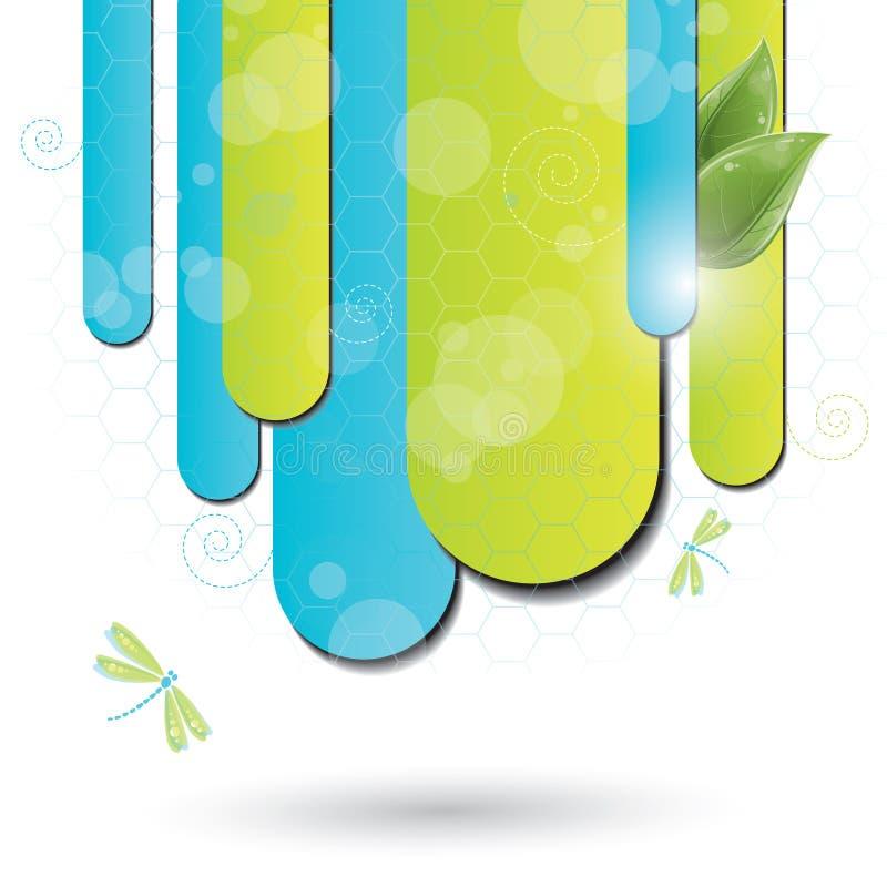 Fundo azul e verde com libélula ilustração stock