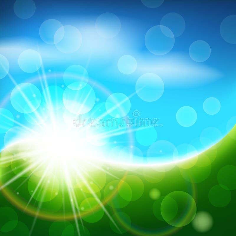Fundo azul e verde ensolarado do vetor, paisagem brilhante do sumário do verão da mola ilustração royalty free