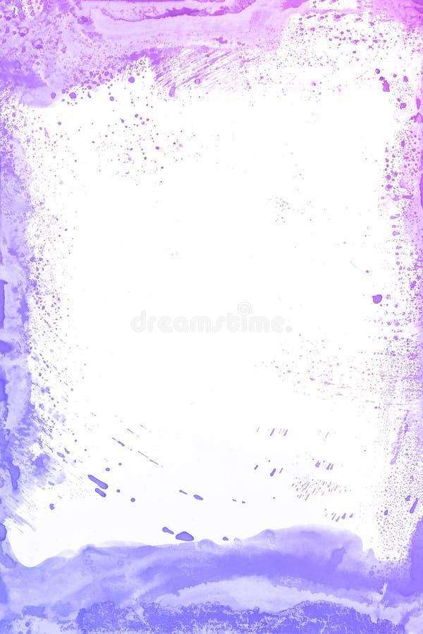 Fundo azul e violeta da aquarela da pintura Mão mágica da arte tirada imagens de stock