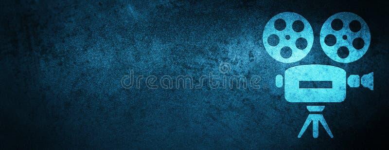 Fundo azul especial da bandeira do ícone da câmara de vídeo ilustração royalty free