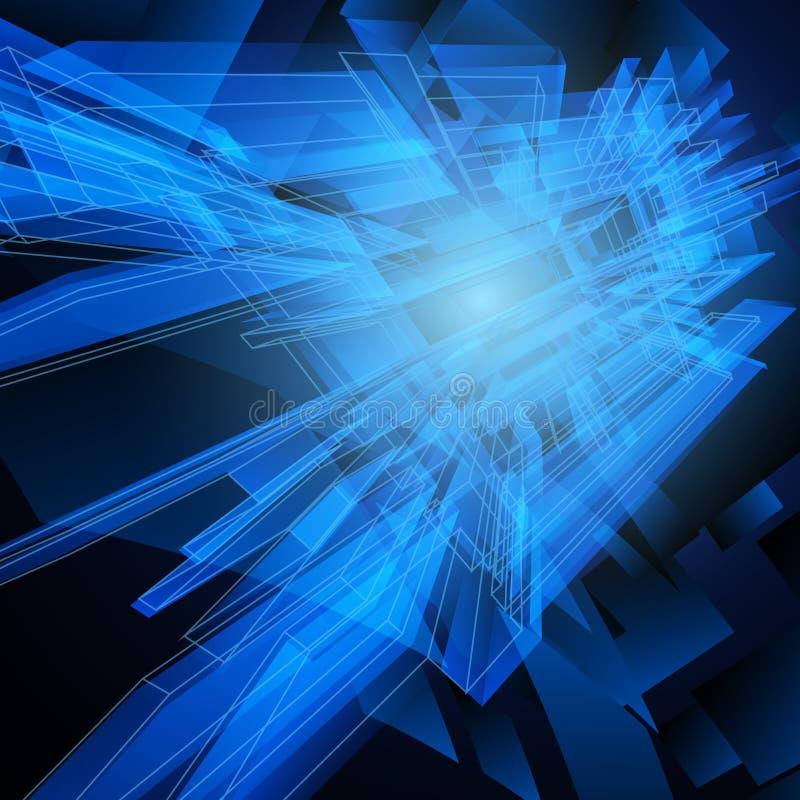 Fundo azul geométrico abstrato da olá!-tecnologia Projeto do vetor ilustração stock