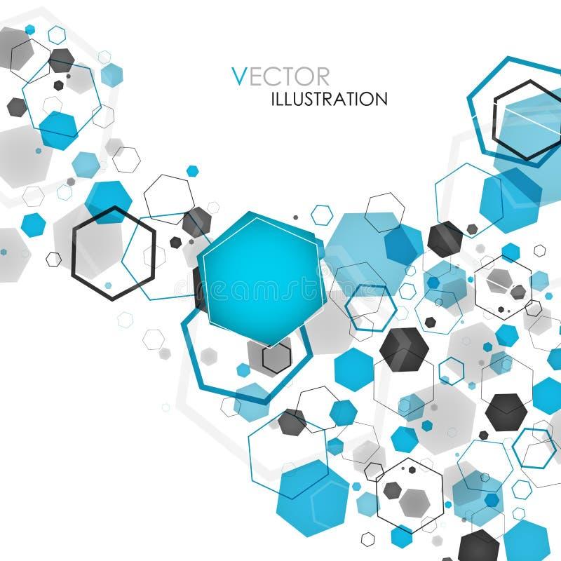 Fundo azul geométrico abstrato do hexágono Ilustração do vetor ilustração royalty free