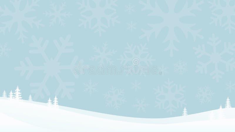 Fundo azul liso da paisagem do inverno com silhuetas do floco de neve Montanhas nevado com abeto ilustração royalty free