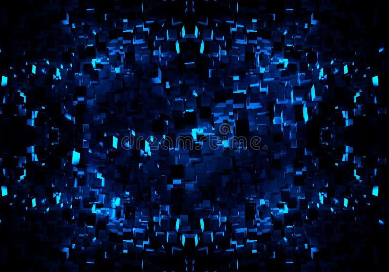 Fundo azul múltiplo original gerado por computador artístico abstrato da arte finala dos testes padrões das formas dos fractals 3 ilustração do vetor