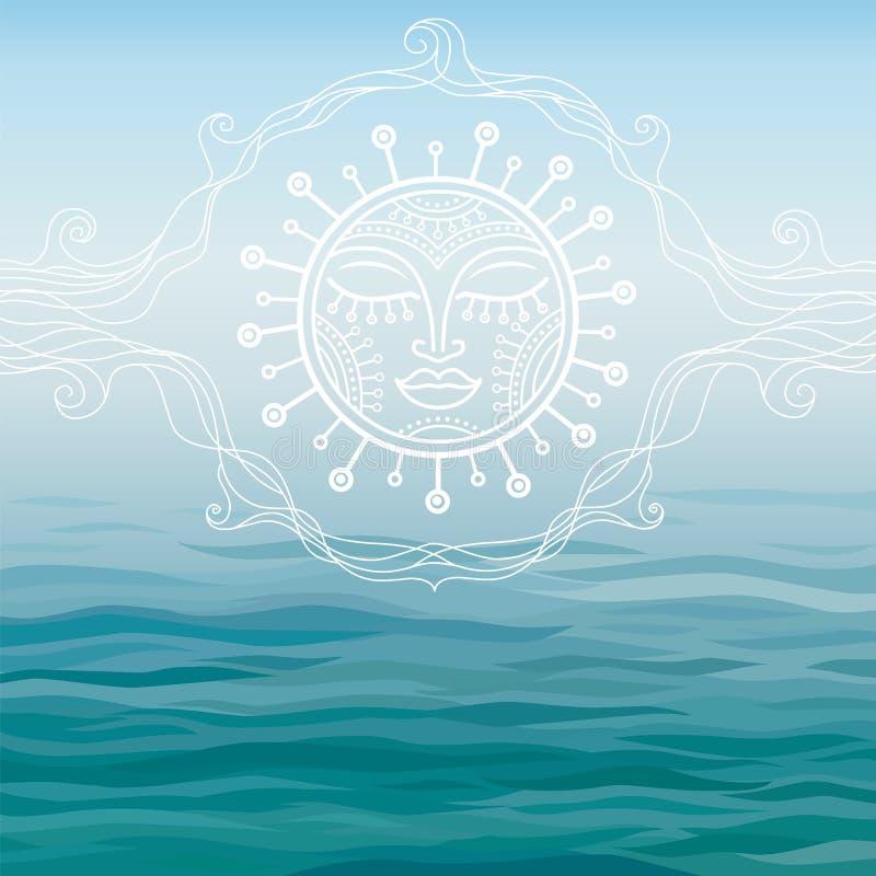 Fundo azul o mar com um símbolo do sol ilustração royalty free