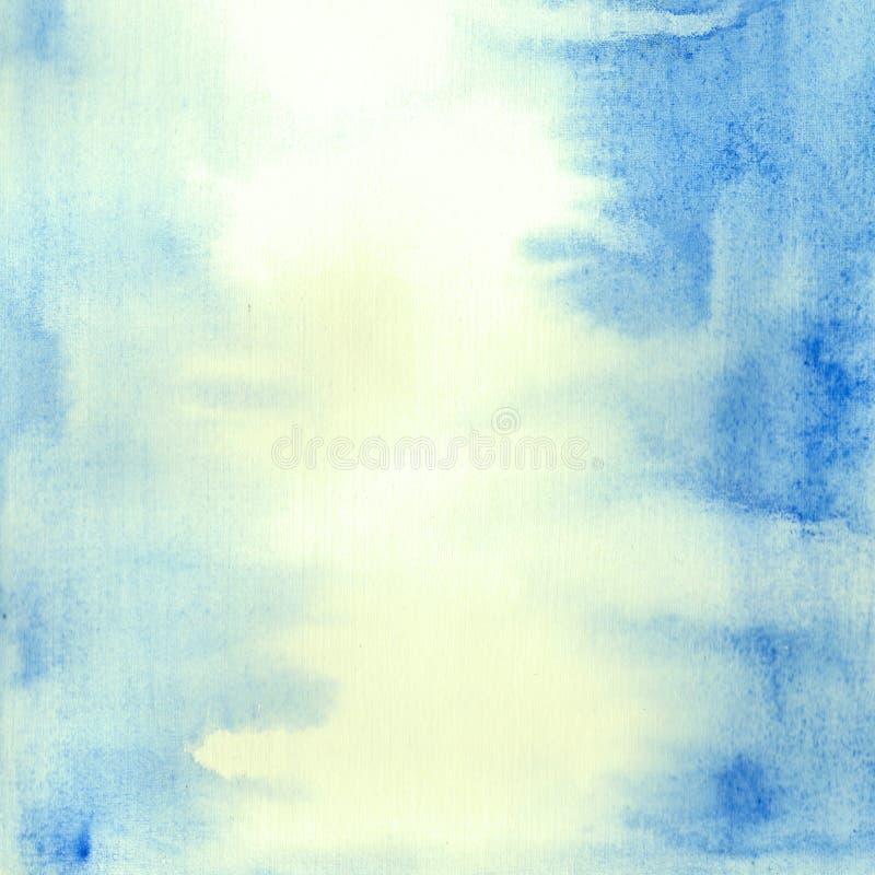 Fundo azul pintado à mão da aquarela de аbstract ilustração stock