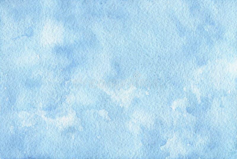 Fundo azul pintado à mão da aquarela Textura abstrata ilustração do vetor