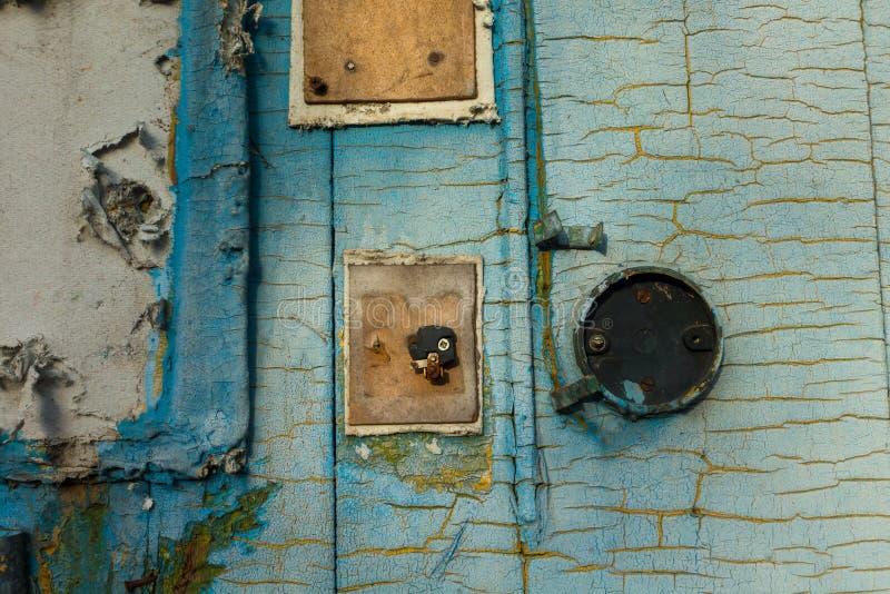 Fundo azul pintado rachado da textura da parede imagens de stock royalty free