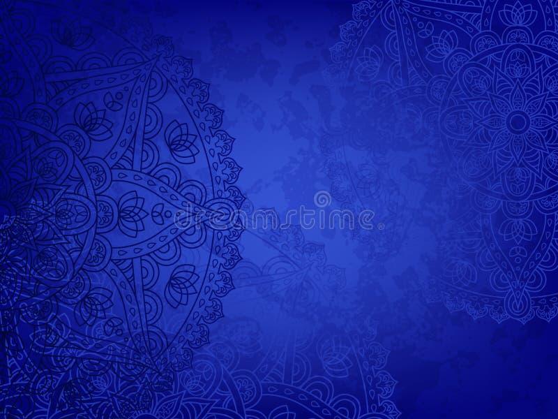 Fundo azul retro da mandala ilustração do vetor