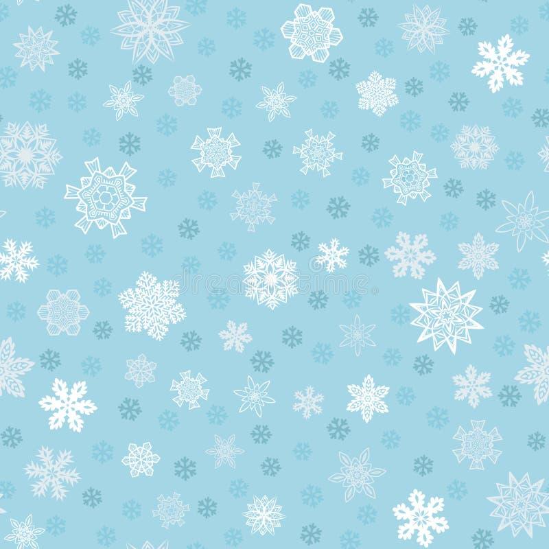 Fundo azul sem emenda do inverno com flocos de neve ilustração do vetor