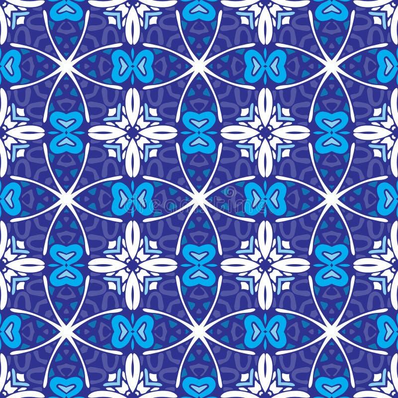 Fundo azul sem emenda geométrico do mosaico ilustração do vetor