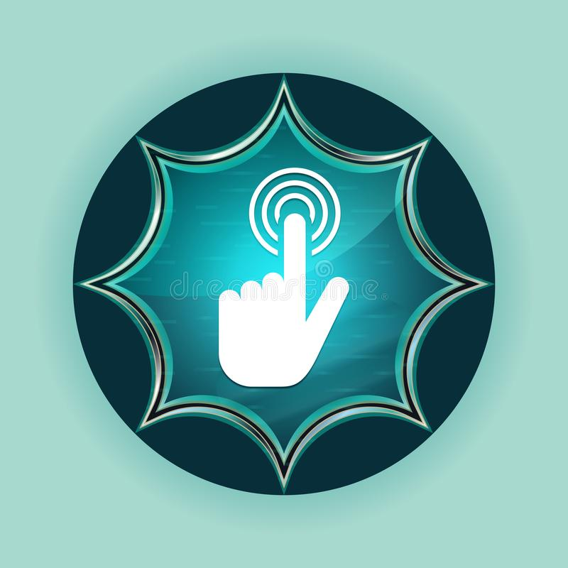 Fundo azul sunburst vítreo mágico dos azul-céu do botão do ícone do clique do cursor da mão ilustração royalty free
