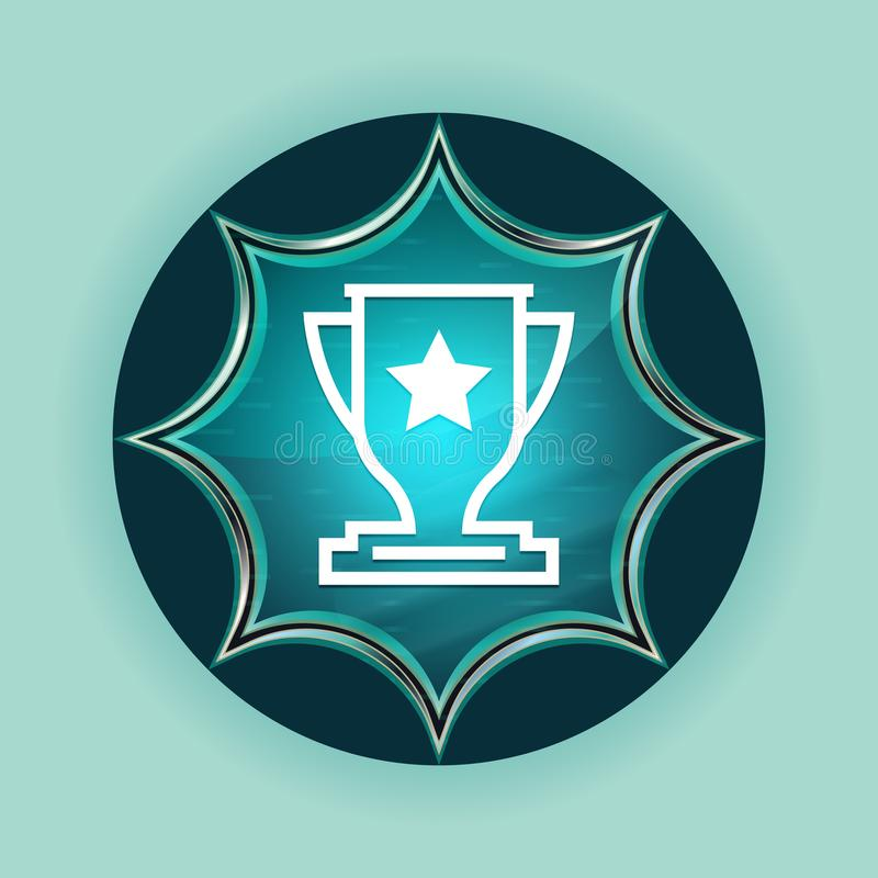 Fundo azul sunburst vítreo mágico dos azul-céu do botão do ícone do troféu ilustração stock