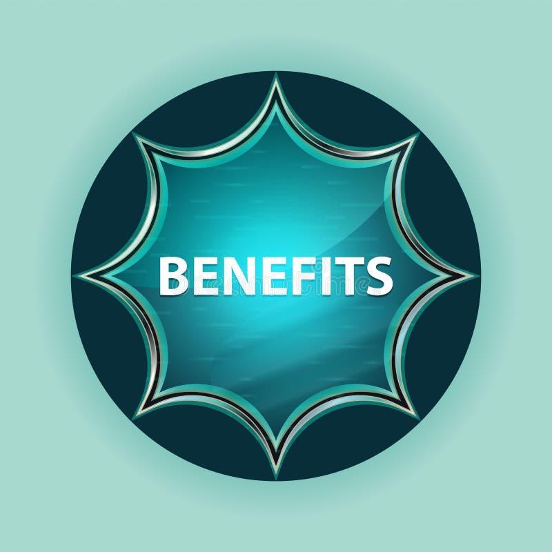 Fundo azul sunburst vítreo mágico dos azul-céu do botão dos benefícios ilustração stock