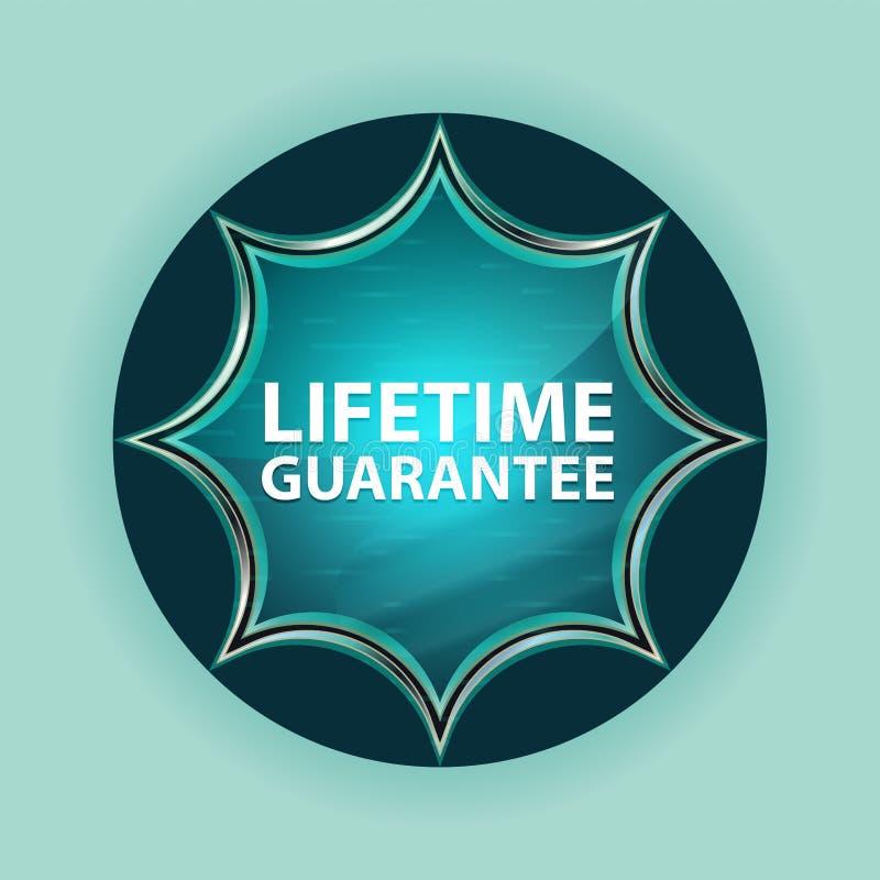 Fundo azul sunburst vítreo mágico dos azul-céu do botão da garantia da vida ilustração royalty free