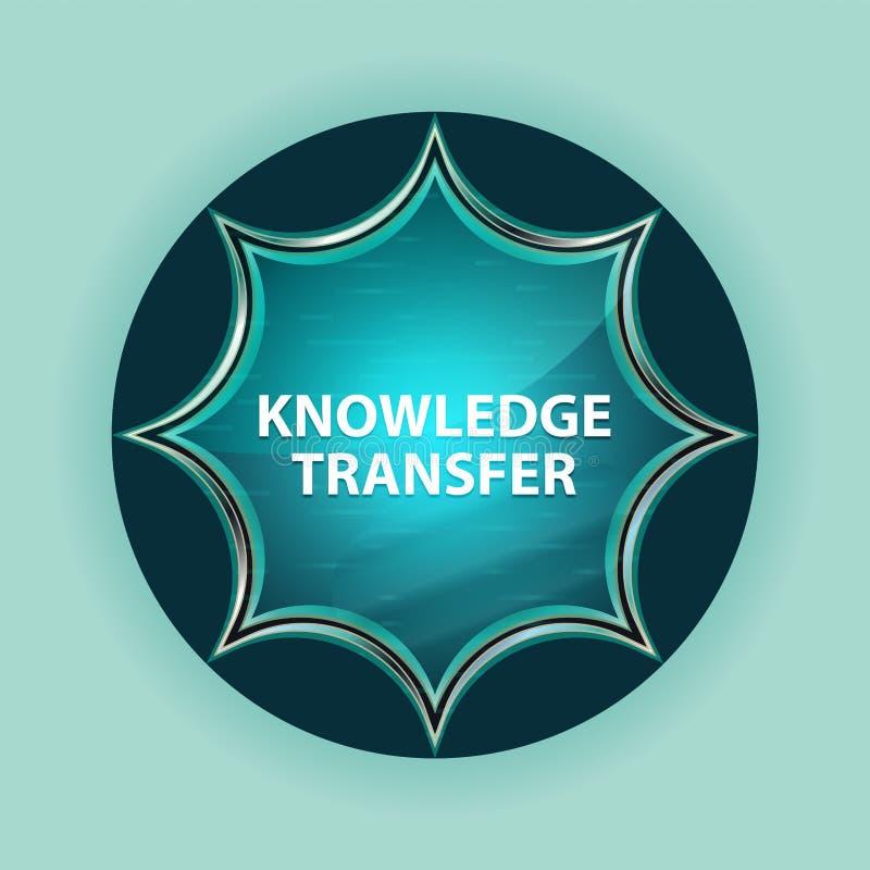 Fundo azul sunburst vítreo mágico dos azul-céu do botão de transferência do conhecimento ilustração royalty free
