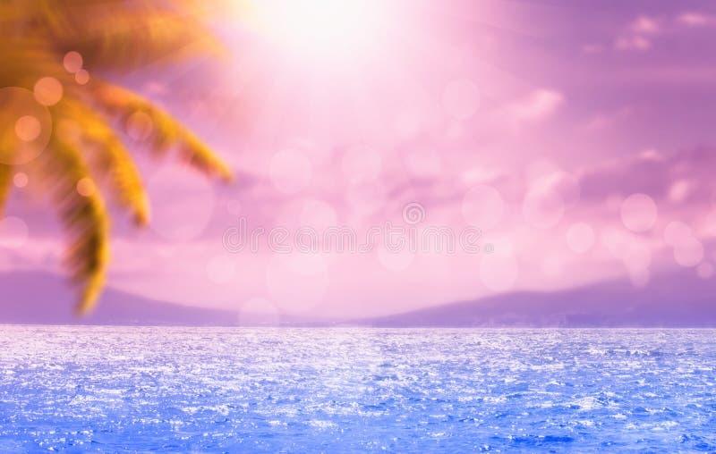 Fundo azul tropical marinho natural borrado do verão com folhas de palmeira e raios de sol da luz Mar e céu com nuvens brancas c? fotos de stock royalty free
