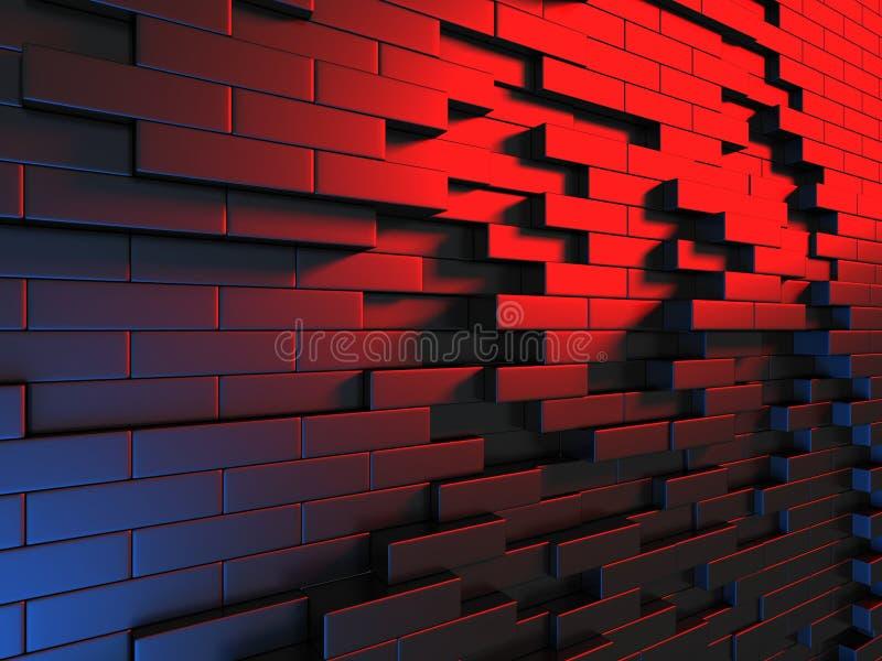 Fundo azul vermelho metálico escuro abstrato da parede dos cubos ilustração royalty free
