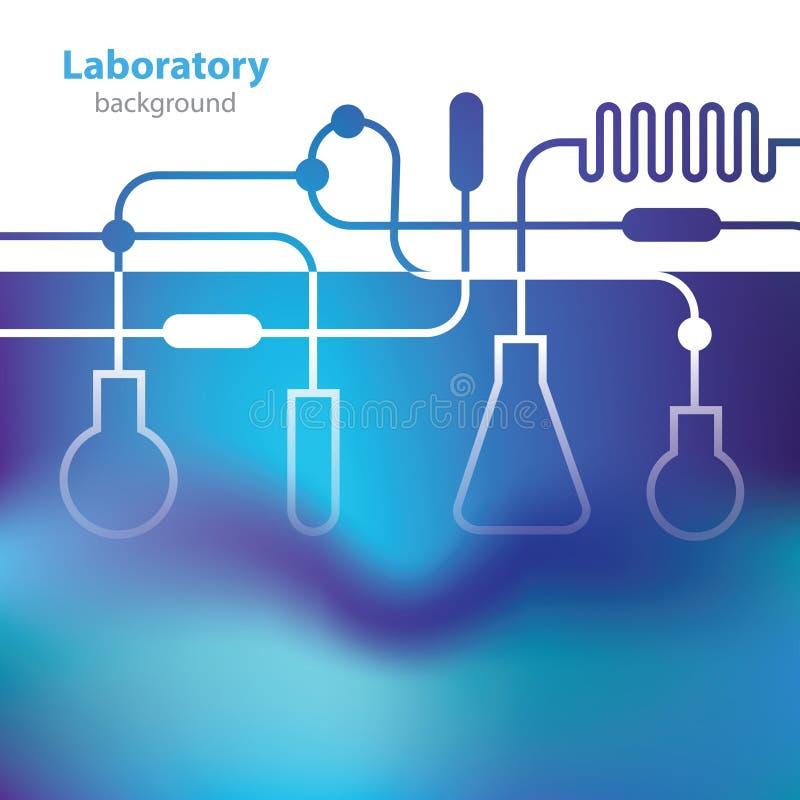 Fundo azulado abstrato do laboratório. ilustração stock