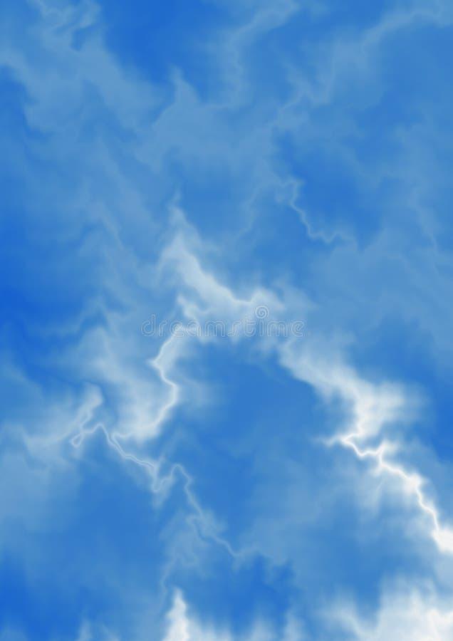 Fundo azulado com as curvasdo zigzagdo chaoticdo whiteilustração do vetor