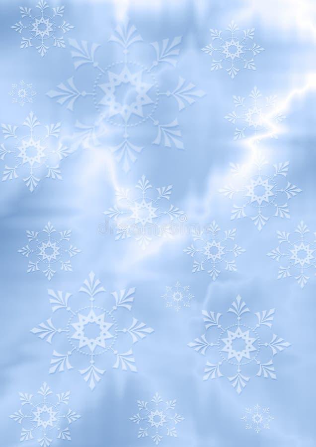 Fundo azulado delicado do ziguezague com flocos de neve brancos ilustração do vetor