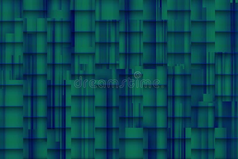 Fundo azulado distorcido com sombras 3d arquitetónicas fotografia de stock