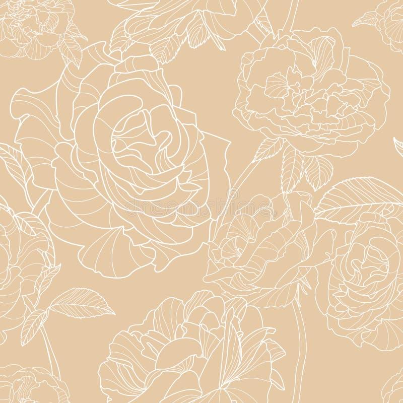Fundo bege claro com as flores cor-de-rosa tiradas mão do esboço Teste padrão sem emenda floral do vetor ilustração do vetor