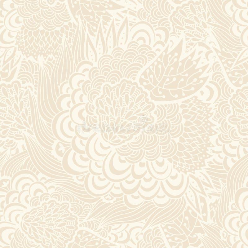Fundo bege floral sem emenda, teste padrão tirado mão ilustração stock