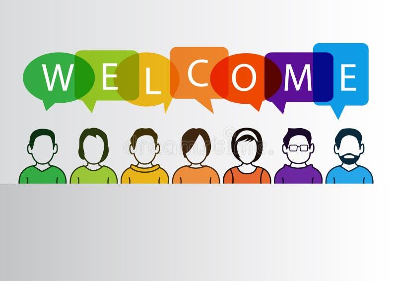 Fundo bem-vindo colorido com personagens de banda desenhada simplificados ilustração royalty free