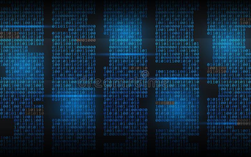 Fundo binário Código de fluência abstrato Dígitos da matriz no contexto escuro Colunas azuis com luzes Conceito cortado ilustração royalty free