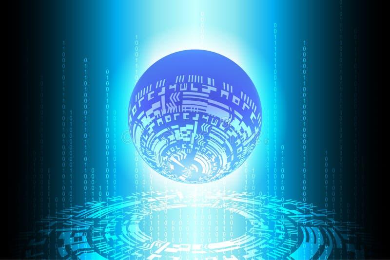 Fundo binário futuro azul da tecnologia do globo ilustração do vetor