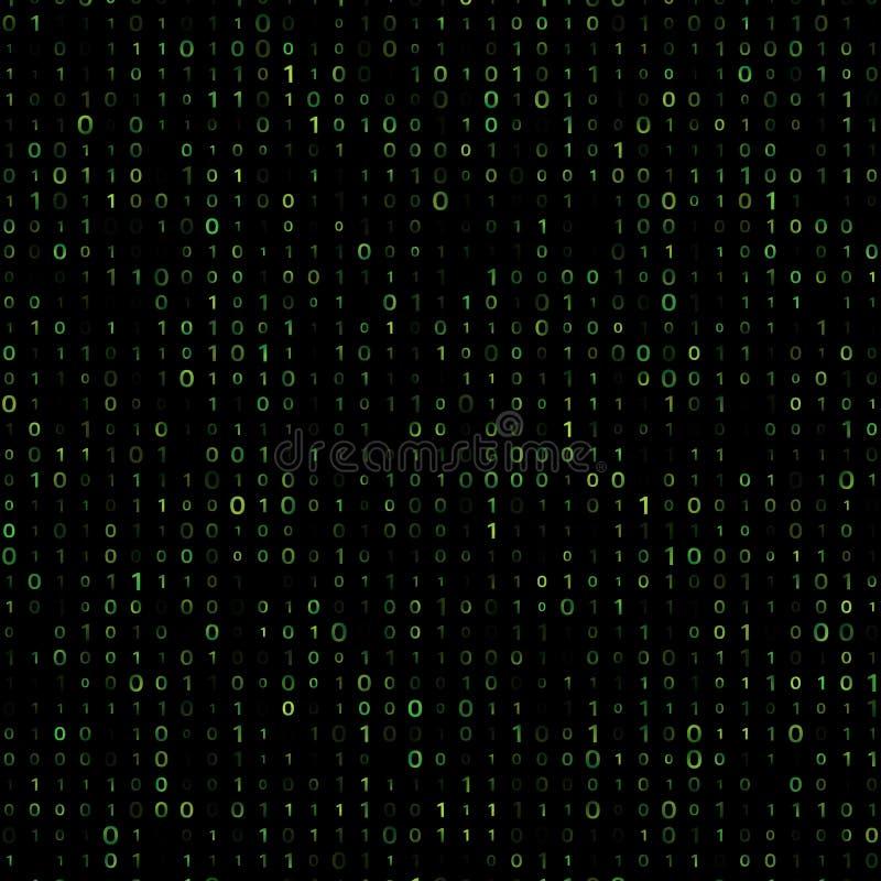 Fundo binar verde do vetor do código de computador ilustração royalty free