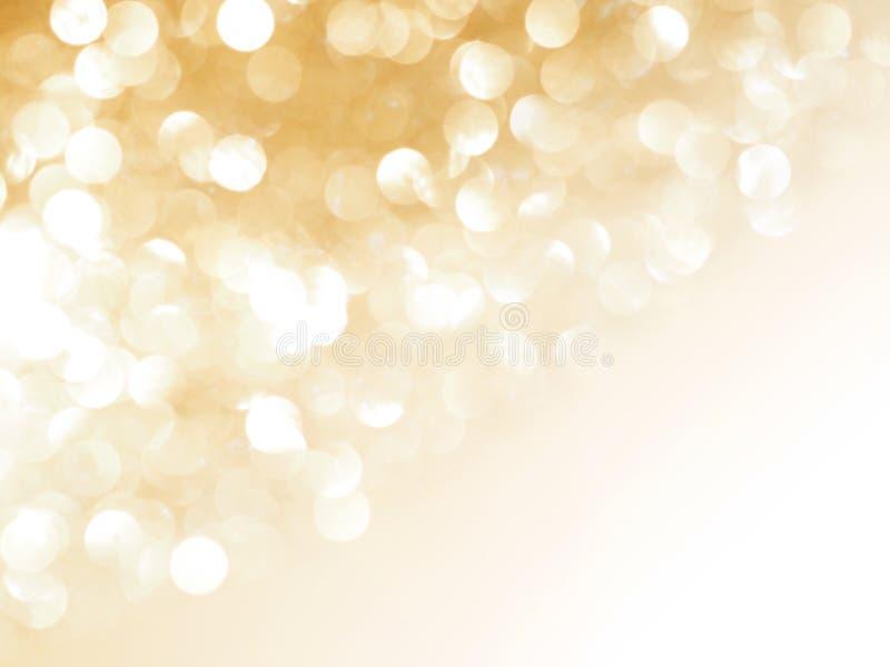 Fundo blured abstrato do ouro e bokeh branco fotografia de stock royalty free