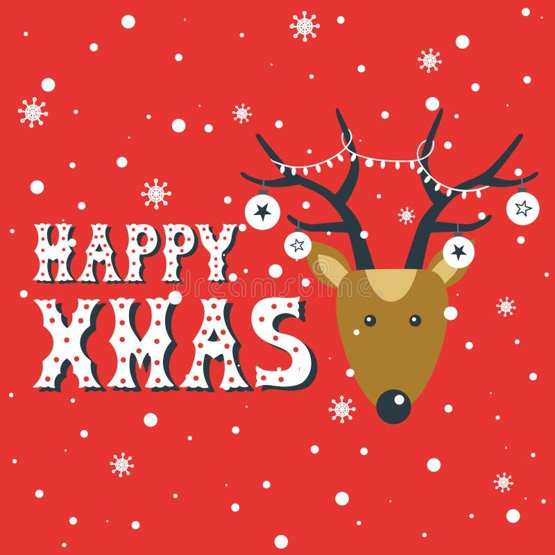 Fundo bonito colorido com cervos, neve e texto inglês Xmas feliz, cartão festal Ano novo ilustração royalty free