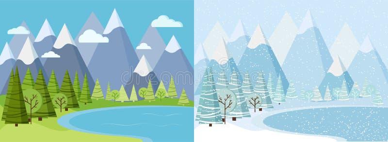Fundo bonito com montanhas, neve da paisagem do inverno e do verão, árvores, abetos vermelhos, lago congelado, nuvens ilustração royalty free