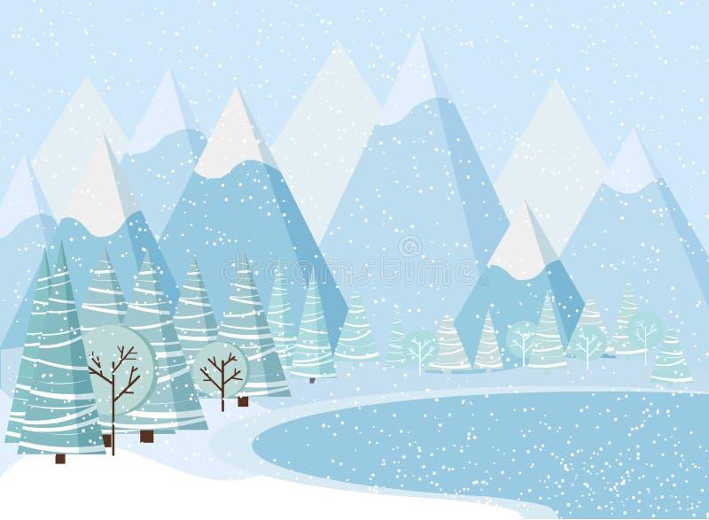 Fundo bonito com montanhas, neve da paisagem do inverno do Natal, árvores, abetos vermelhos, lago congelado ilustração do vetor